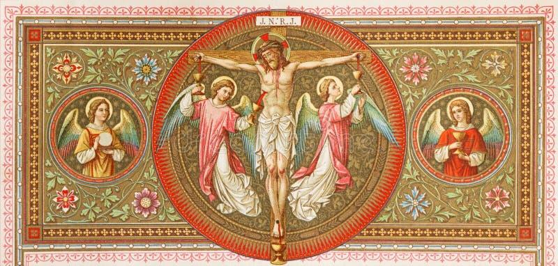 BRATISLAVA, ESLOVAQUIA, NOVIEMBRE - 21, 2016: La litografía de la crucifixión en Missale Romanum del artista desconocido imagen de archivo libre de regalías