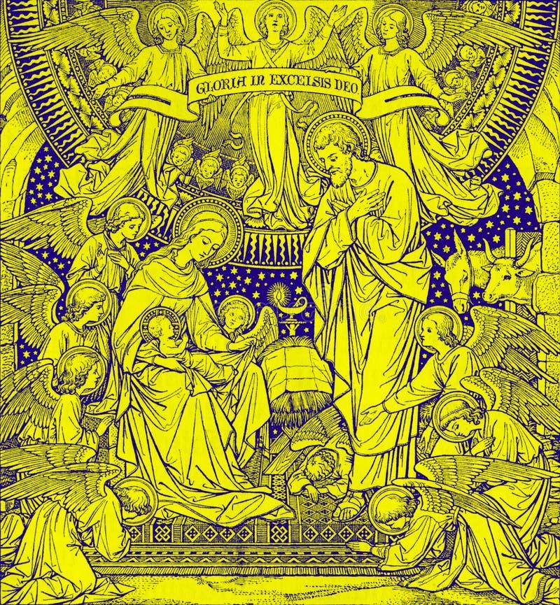 BRATISLAVA, ESLOVAQUIA, NOVIEMBRE - 21, 2016: La litografía de la natividad en Missale Romanum del artista desconocido con las in fotografía de archivo libre de regalías