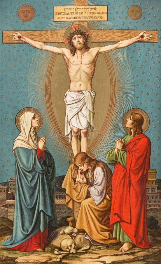 BRATISLAVA, ESLOVAQUIA, NOVIEMBRE - 21, 2016: La litografía del Calvary en Missale Romanum del artista desconocido imagen de archivo libre de regalías