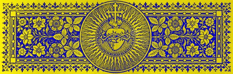 BRATISLAVA, ESLOVAQUIA, NOVIEMBRE - 21, 2016: La litografía del corazón de Jesús en Missale Romanum foto de archivo