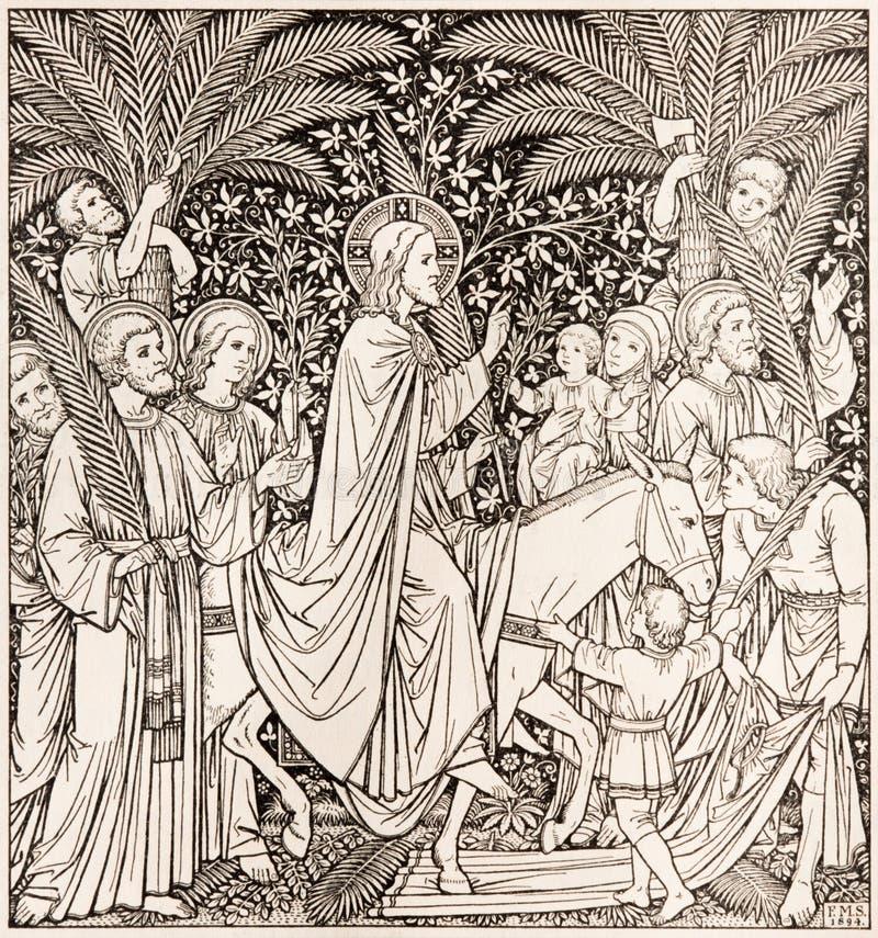 BRATISLAVA, ESLOVAQUIA, NOVIEMBRE - 21, 2016: La litografía Entriy de Jesús en Jerusalén imagen de archivo