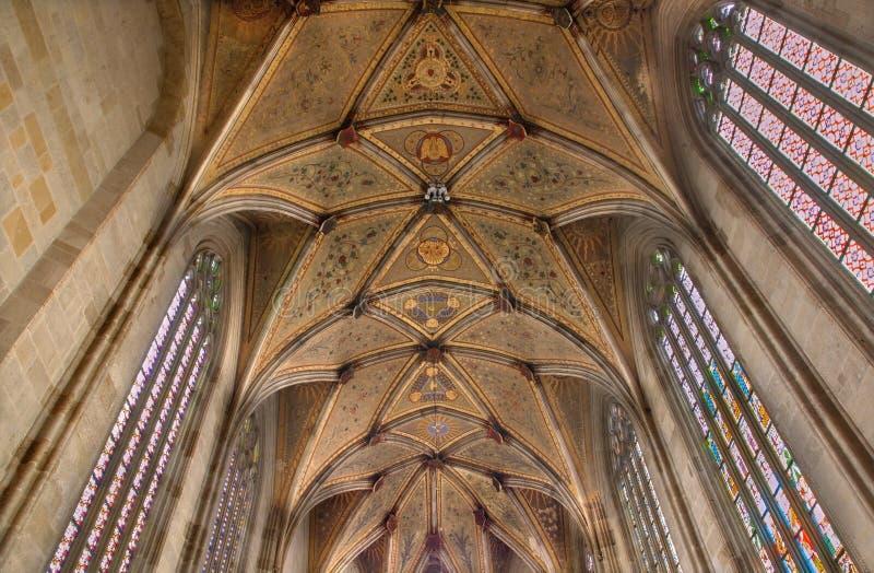 Bratislava - Fresko op gotisch plafond van pastorie van st. Martin kathedraal. royalty-vrije stock foto's