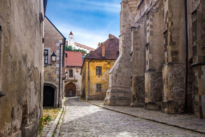 Bratislava gammal del av staden arkivfoton