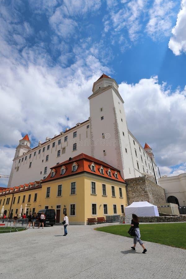 Bratislava grad buduje na skłonach Carpathians znakomity widok dolina Danube otwiera od tutaj obraz stock