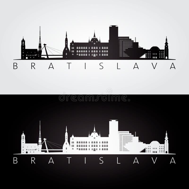 Bratislava horisont och gränsmärkekontur vektor illustrationer