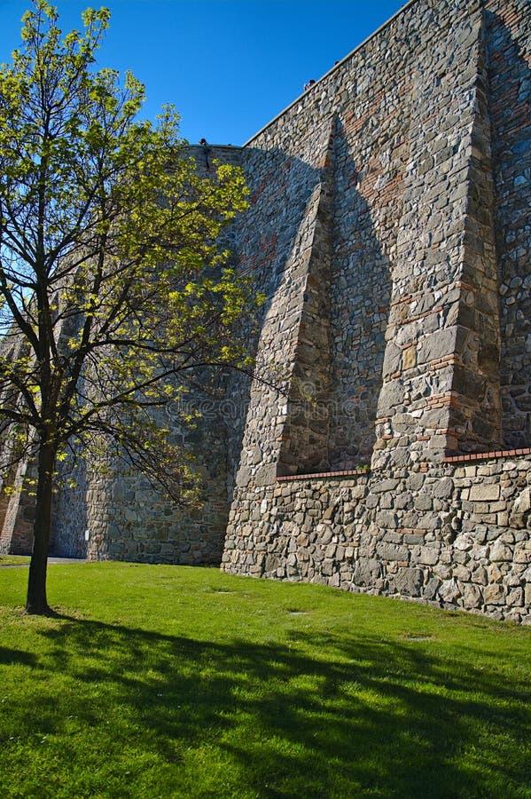 Bratislava kasztelu widok na ramparts zamkniętych w górę zdjęcia royalty free