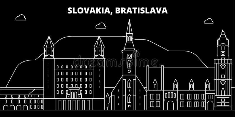 Bratislava konturhorisont Slovakien - Bratislava vektorstad, slovakian linjär arkitektur, byggnader brat royaltyfri illustrationer