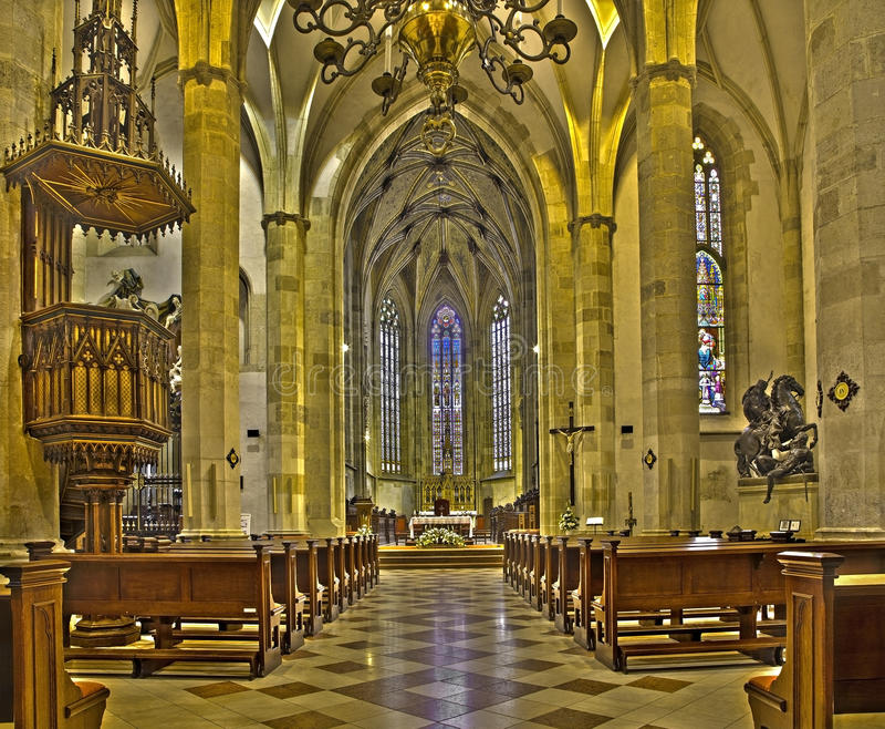 Bratislava - Main nave of st. Martin cathedral from 15. cent. BRATISLAVA, SLOVAKIA - FEBRUARY 11, 2014: Main nave of st. Martin cathedral from 15. cent royalty free stock image