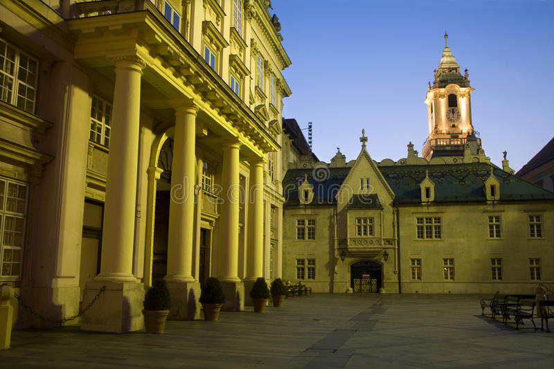 Bratislava - metropolitan palace and town-hall. In the night royalty free stock images