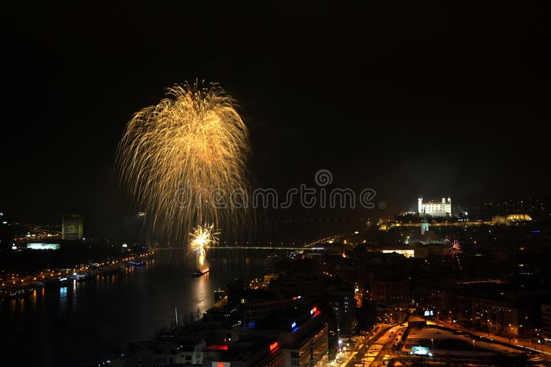 Bratislava New Year firework. View stock images
