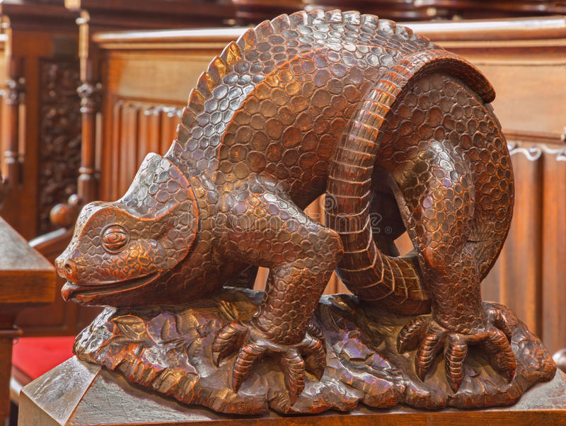 Download Bratislava - Reptile Symbolic Carved Sculpture From Bench In Presbytery In St. Matins Cathedral Stock Photo - Image: 37780308