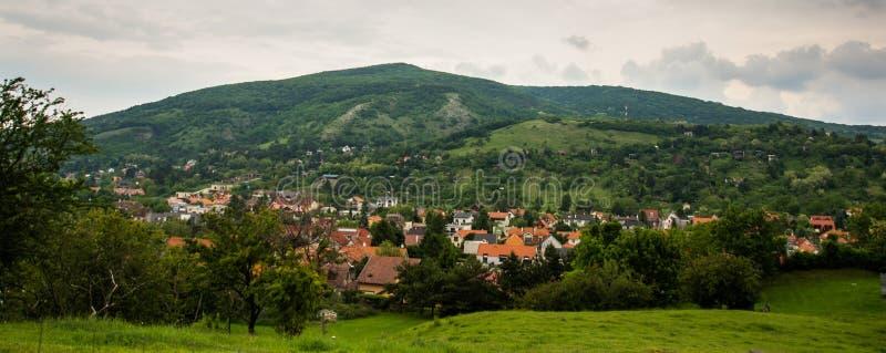 BRATISLAVA, SLOVACCHIA: Bello paesaggio con le colline, gli alberi, i prati e le case del villaggio vicino alla fortezza Devin Ca fotografia stock