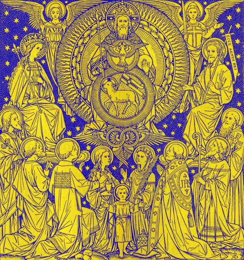 BRATISLAVA, SLOVACCHIA, 21 NOVEMBRE AL 2016: La litografia di trinità santa in Missale Romanum immagini stock libere da diritti