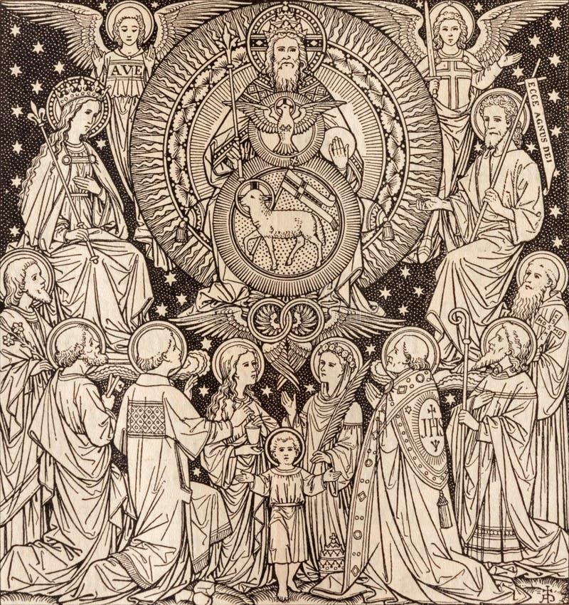 BRATISLAVA, SLOVACCHIA, 21 NOVEMBRE AL 2016: La litografia di trinità santa in Missale Romanum fotografia stock