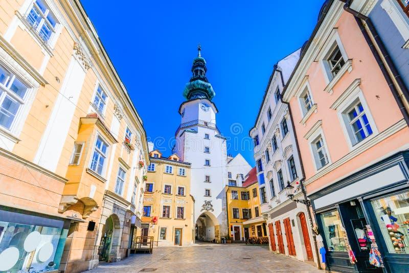 Bratislava, Slovakia. Medieval Saint Michaels Gate tower royalty free stock image