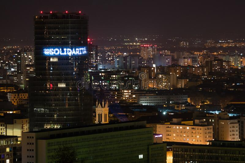 Slovakia central bank's building decorated with light hashtags stock photo
