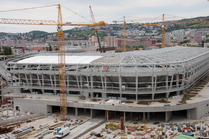 Bratislava, Slovakia - May 1st 2018 - building a new football stadium royalty free stock images
