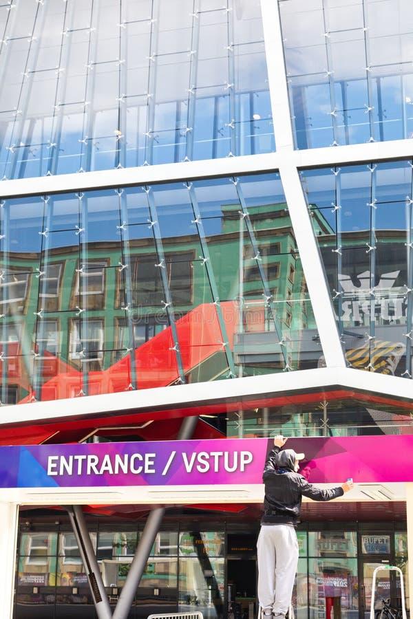 Bratislava, Slovakia - May 7th 2019 : Preparing enter gates - 3 days before Hockey World Championship stock photo