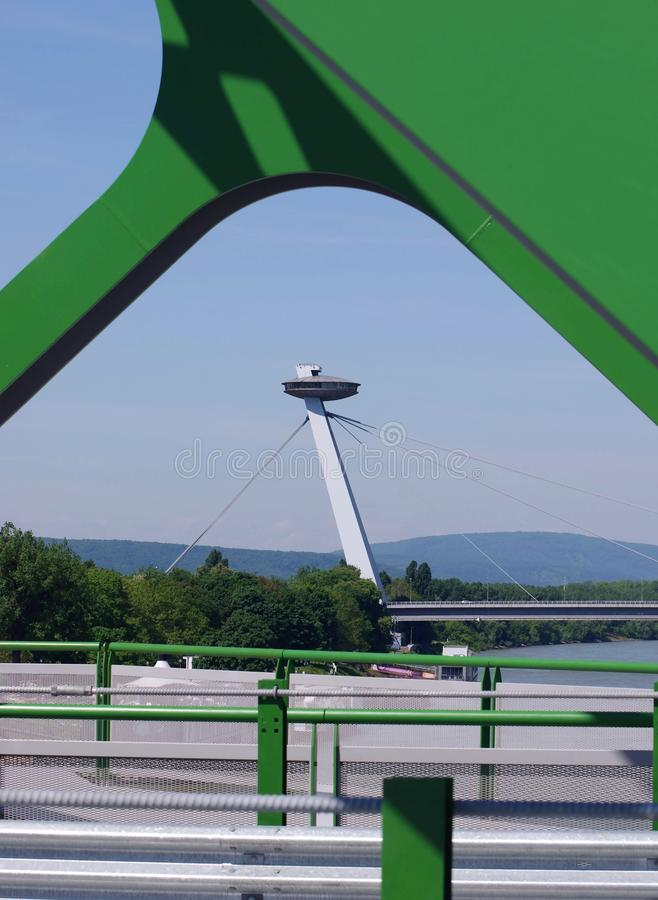 BRATISLAVA, SLOVAKIA - MAY 20, 2016: View from Bratislava's new Old Bridge (Stary Most). Openning stock photo