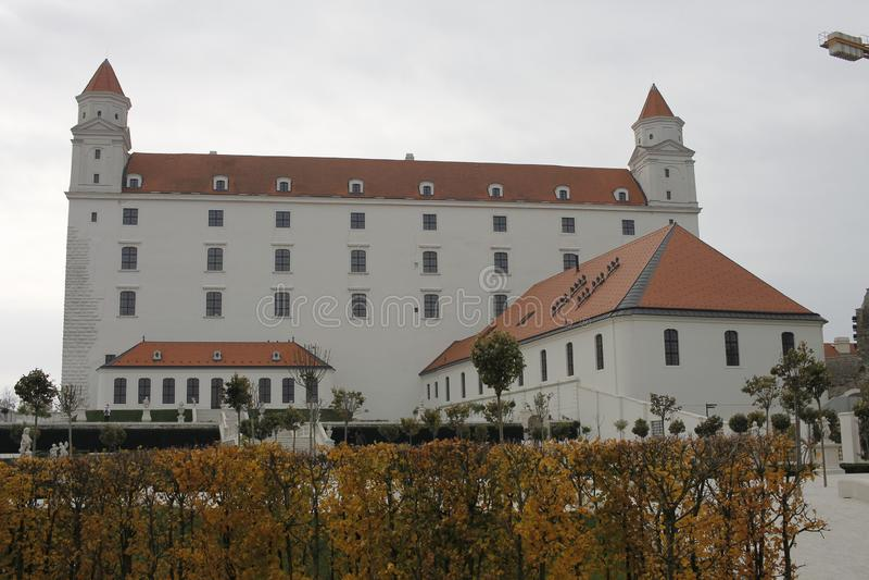 Centrum of Bratislava Old Town, Bratislava castle. Bratislava, Slovakia. November 5, 2018. Bratislava castle  in city centrum of Bratislava, Slovakia stock image