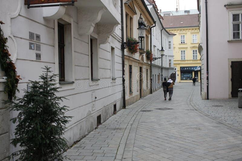 In centrum of Bratislava Old Town. Bratislava, Slovakia. November 5, 2017. In centrum of Bratislava Old Town royalty free stock images