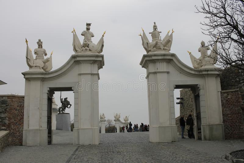 Gate at Bratislava Castle - capital city of Slovakia royalty free stock images