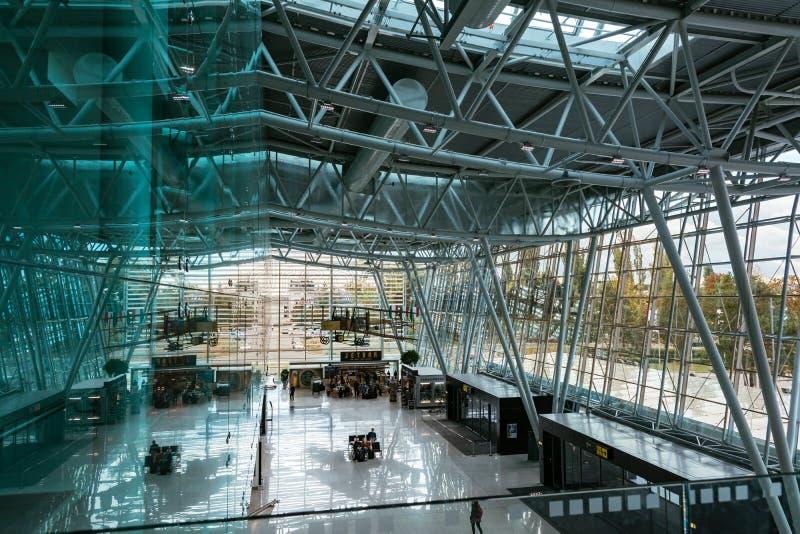 Bratislava`s airport Milan Rastislav Stefanik, Slovakia. Indoor. BRATISLAVA, SLOVAKIA - OCTOBER 3, 2016: Bratislava`s airport Milan Rastislav Stefanik, modern stock photo