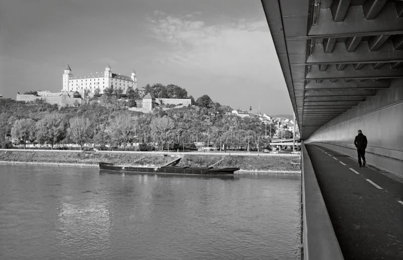 BRATISLAVA, SLOVAKIA, OCTOBER - 27, 2016: The castle from SNP bridge stock photos