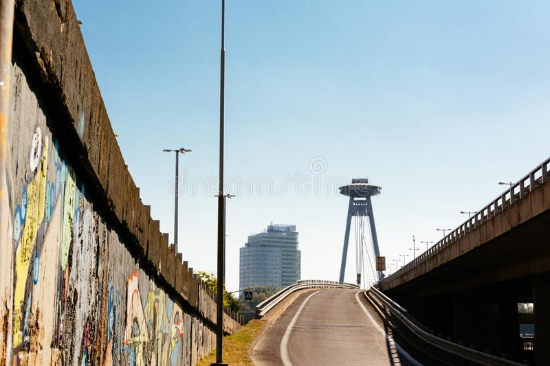 Most of the SNP road that crosses the Danube river, bratislava, royalty free stock image