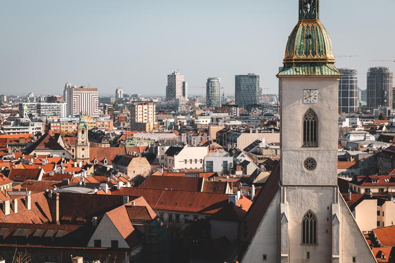 Bratislava old historical center and modern buildings view from the castle stock photos