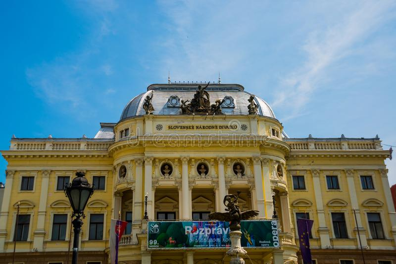 Bratislava,Slovakia: The old Slovak National Theatre building in Neo-Renaissance style stock images