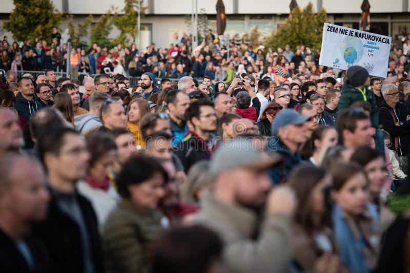 Anti-government protests continued around Slovakia on September 20, 2019 royalty free stock photo