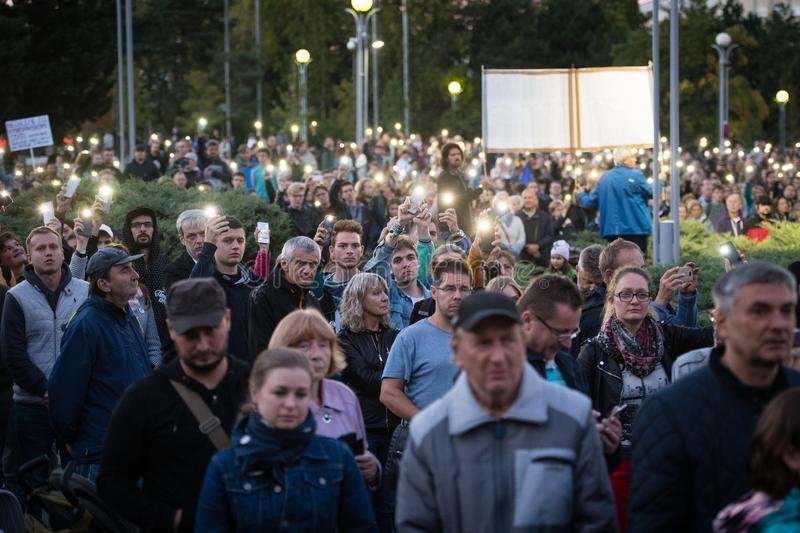 Anti-government protests continued around Slovakia on September 20, 2019 stock photography