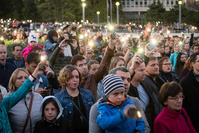 Anti-government protests continued around Slovakia on September 20, 2019 stock photos
