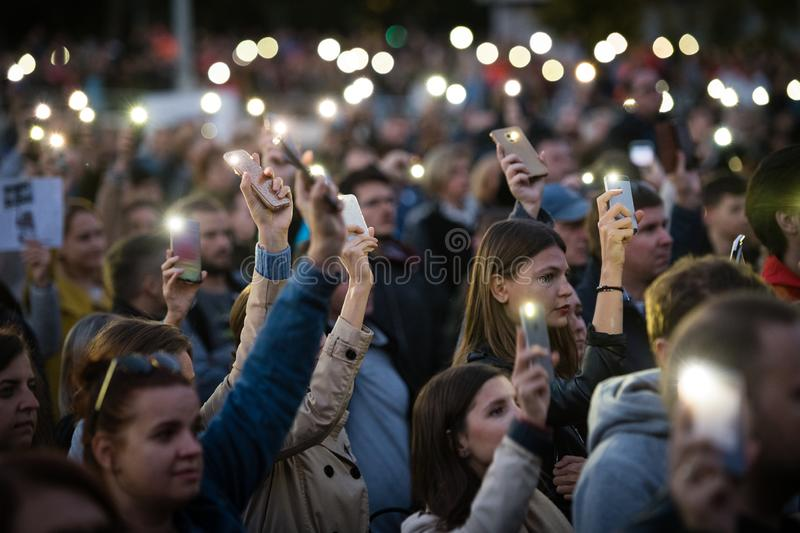 Anti-government protests continued around Slovakia on September 20, 2019 royalty free stock photography