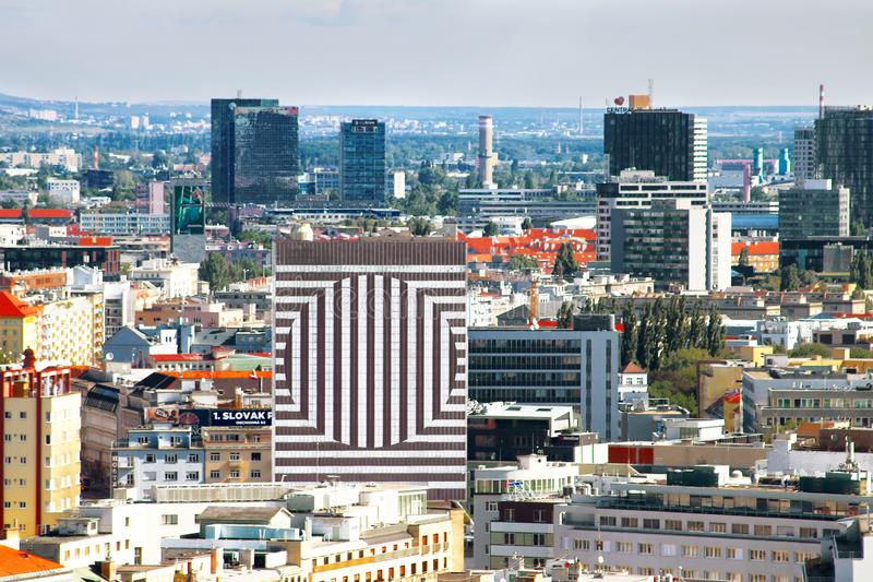 View of the Hotel Kyjev centre and aerial view of the city, Bratislava, Slovakia stock image