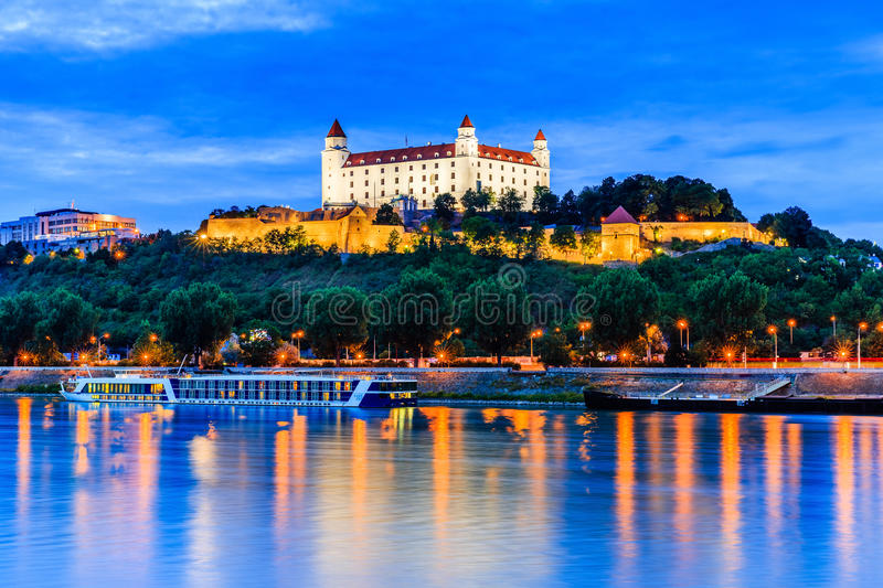 Bratislava, Slovakia. View of the Bratislava castle and Danube river at the twilight stock photos