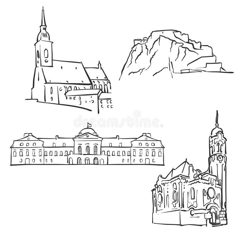 Bratislava Slovakien, berömda byggnader royaltyfri illustrationer