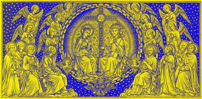 BRATISLAVA, SLOVAQUIE, NOVEMBRE - 21, 2016 : Le couronnement de lithographie de Vierge Marie photos libres de droits