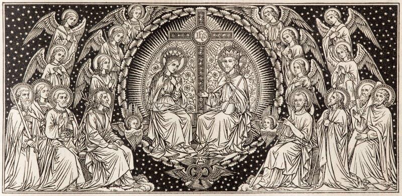 BRATISLAVA, SLOWAKEI, NOVEMBER - 21, 2016: Die Lithographie Krönung von Jungfrau Maria stockfoto