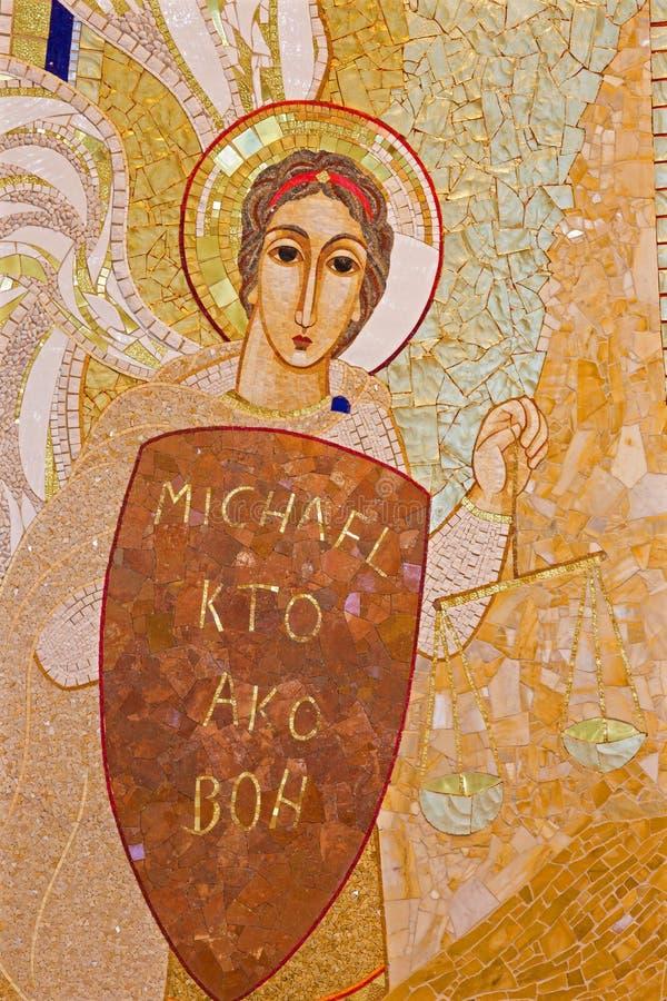 Bratislava - szczegół mozaika archanioł Michael w Świątobliwej Sebastian katedrze obraz royalty free