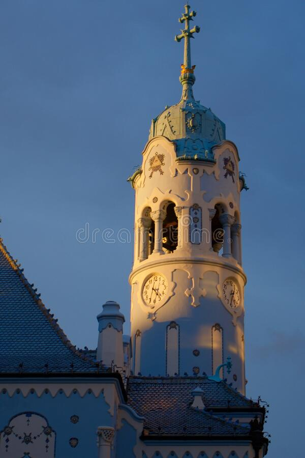 Bratislava Tower Blue Church of St. Elizabeth of Hungary royalty free stock photography