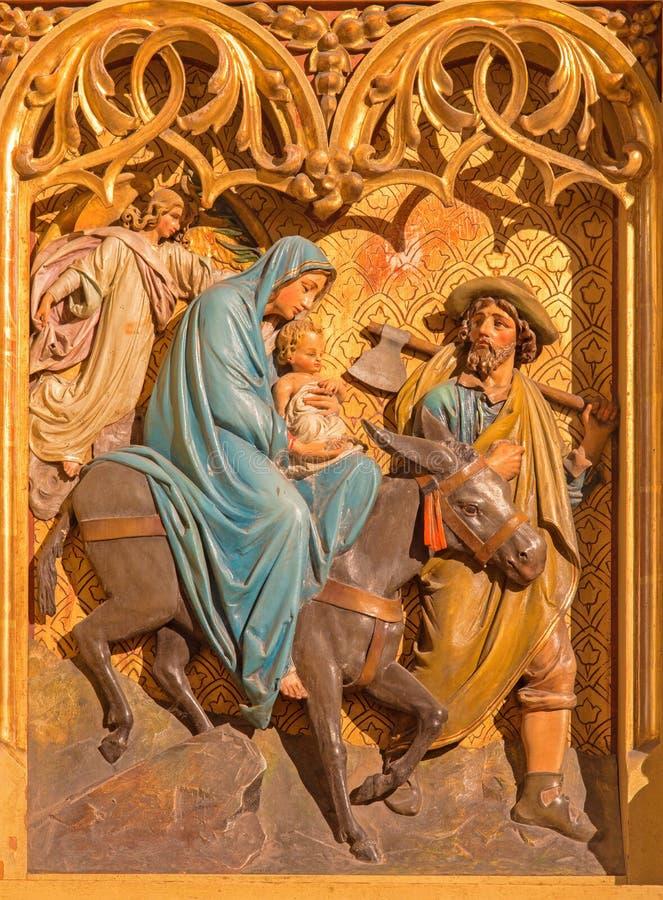 Bratislava - voo de hl. Família à cena de Egito da catedral imagem de stock
