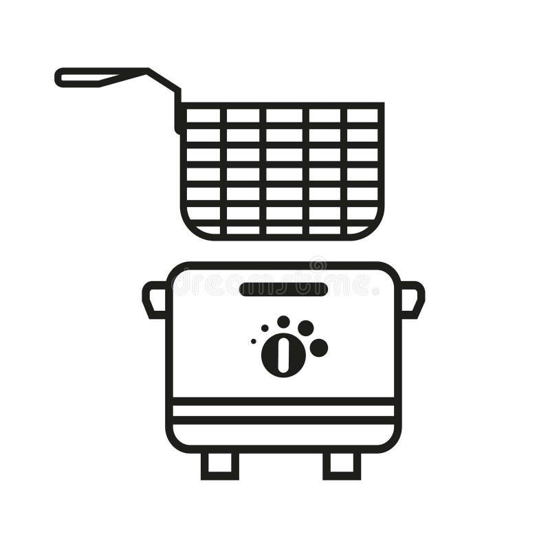 Bratpfannen-Ikone, Fritteuse-Vektor Art Illustration stock abbildung