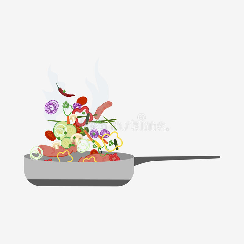 Bratpfannenikone stock abbildung
