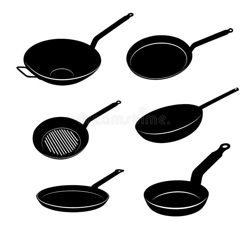 Bratpfannesatz Küchengeräte für das Kochen des Lebensmittels Kochen des Topfes und des Pans Schattenbilder von Küchenwerkzeugen A stock abbildung