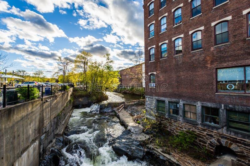 Brattleboro, Vermonts小舒适市中心 免版税库存照片