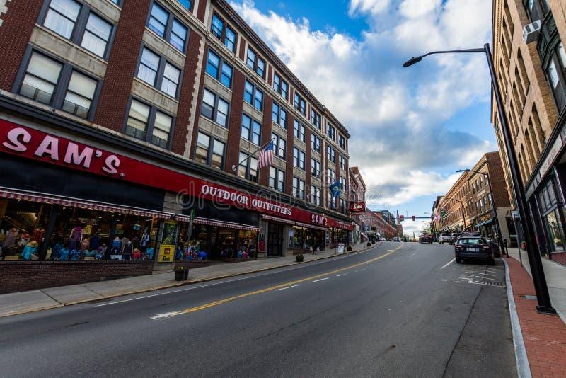 Brattleboro, het Kleine Comfortabele Gebied Van de binnenstad van Vermonts royalty-vrije stock afbeeldingen
