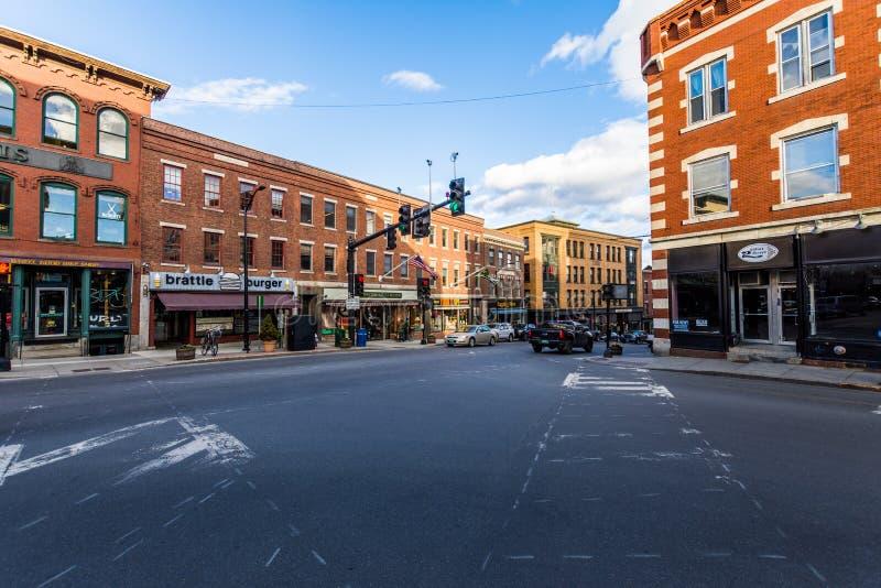 Brattleboro, Vermonts piccolo centro della città accogliente immagini stock