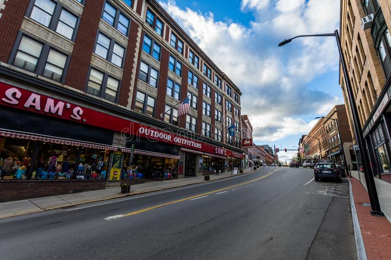 Brattleboro, Vermonts Small Cozy Downtown Area.  royalty free stock images